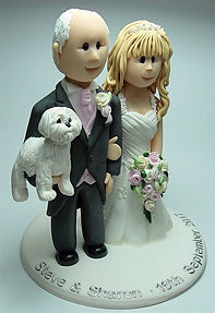 Wedding Cake Topper Including Dog