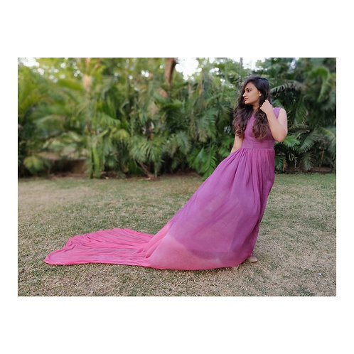 Long trailed - ombre dyed gown.
