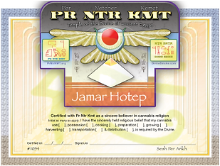Religious Cannabis Certificate