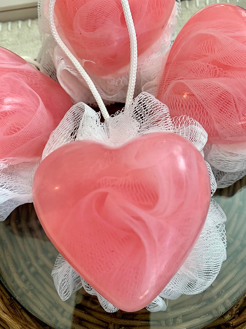 Heart Soap with Luffa