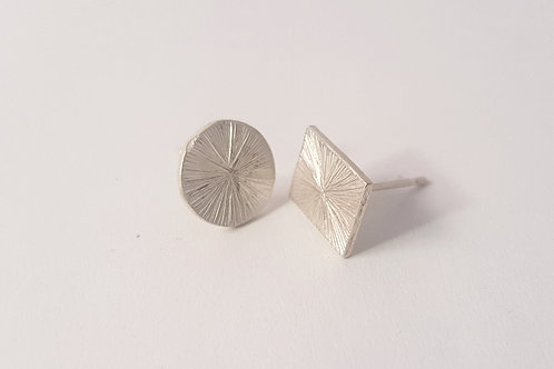 Hand Engraved Silver Studs