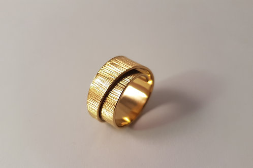 Gold Plated Engraved Spiral Ring