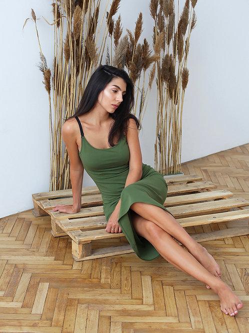 Трикотажное платье Khaki Midi