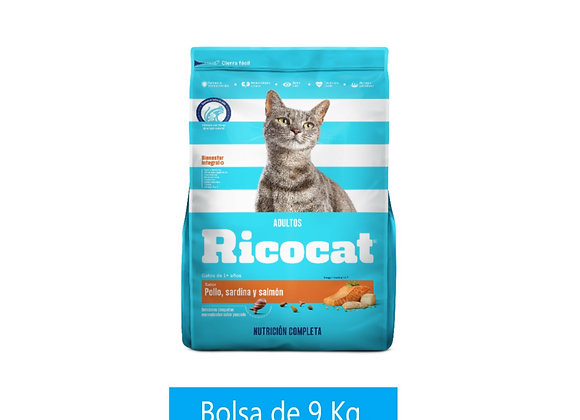 Ricocat - Adulto - Pollo/Sard/Salmón - 9 kg.