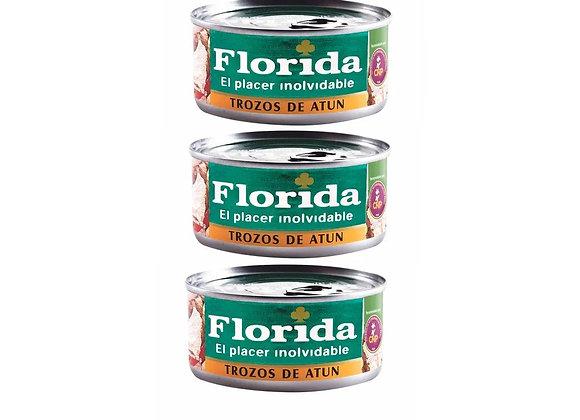 Trozos de Atún en Aceite Vegetal - Pack x 3 - Florida
