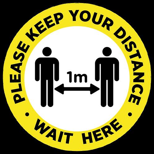 Wait here 1 metres social distancing internal floor sticker