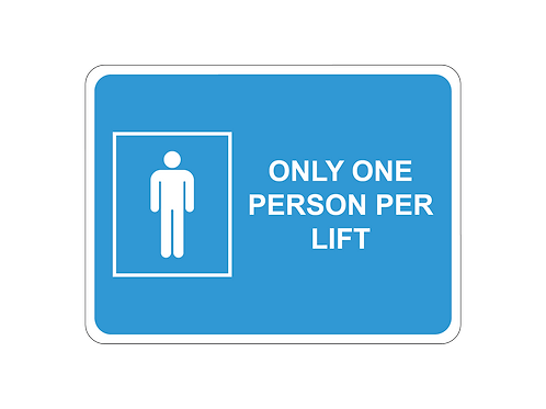 Only one person per lift social distancing internal floor sticker