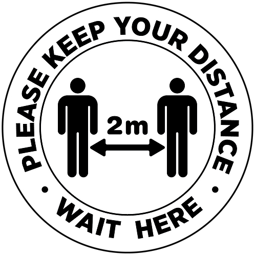 Wait here 2 metres social distancing internal floor sticker