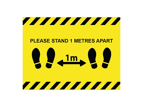 Please stand 1 metres apart social distancing internal floor sticker