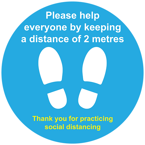 2 metres social distancing internal floor sticker