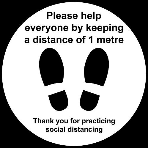 1 metre social distancing internal floor sticker