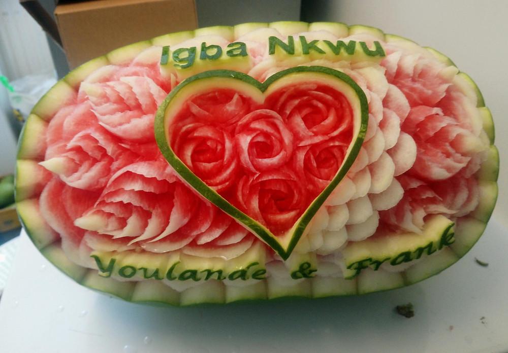 Rose petal carvings in watermelon.