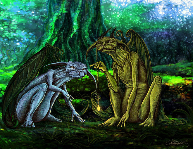 Artwork of two fantasy winged creatures in a fantasy forest holding a jewel on a chain