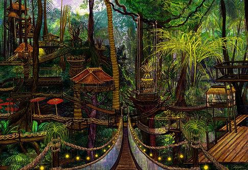 """Tropical Treehouses"" Giclee Print"