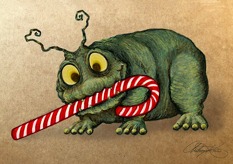 """""""Candy Cane Critter"""" Giclee Print"""