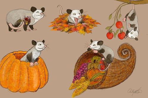 """Autumn Opossums"" Giclee Print"