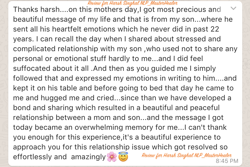 Mother's experience on Mother's day