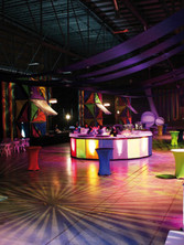 corporate colorful theme dance party with high round table