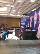 huge branding wall for special lighting and AV console for ISCAR_event by eventozo at ITC grand Chola