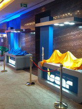 exclusive product launch and product display podium for ISCAR at India chennai. event by eventozo at ITC Grand Chola
