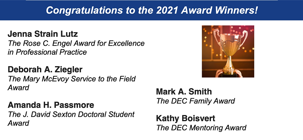 Congratulations to the 2021 Award Winners! Jenna Strain Lutz The Rose C. Engel Award for Excellence in Professional Practice. Deborah A. Ziegler The Mary McEvoy Service to the Field Award. Amanda H. Passmore The J. David Sexton Doctoral Student Award.  Mark A. Smith The DEC Family Award. Kathy Boisvert The DEC Mentoring Award.