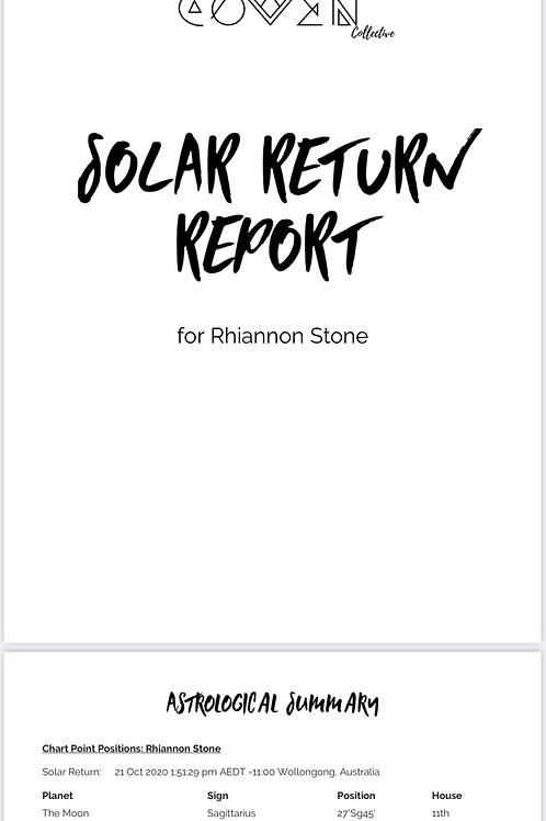 Solar Return Report - Digital Email Format