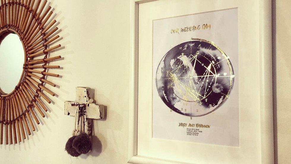 Wedding/Special Event Astrology Natal Chart Art
