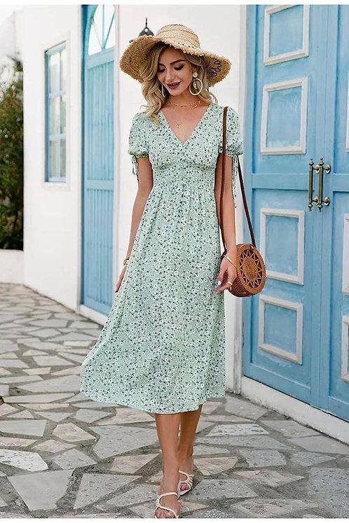 Bel Gipeli Çiçek Desen Elbise - Mint