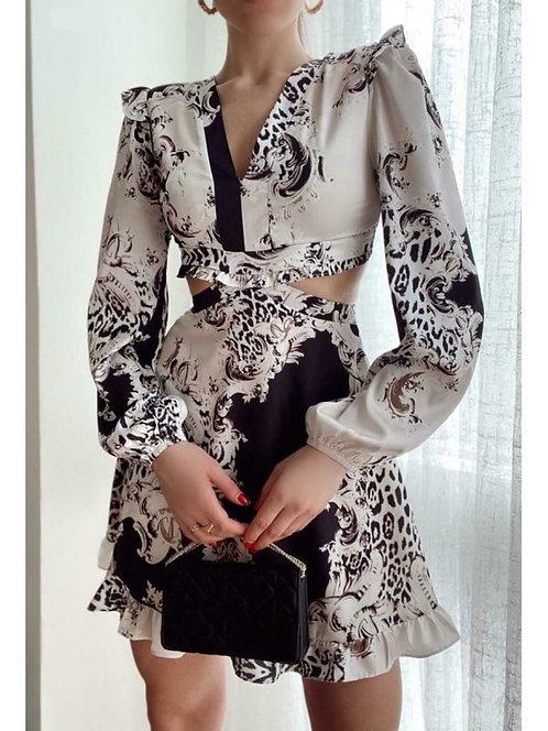 Otantik Desen Sırt Dekolteli Elbise - Beyaz
