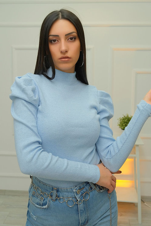 Prenses Kol Dik Yaka Bluz - Bebe Mavisi