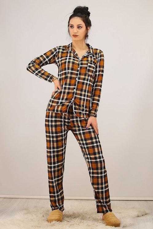 Kadife Pijama Takımı - Kareli Taba