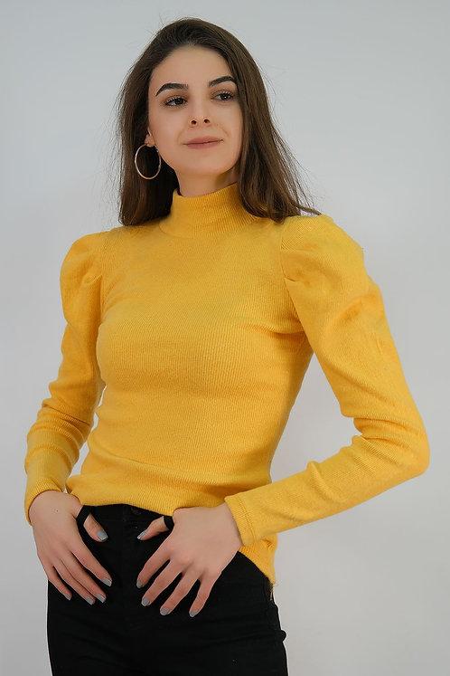 Prenses Kol Dik Yaka Bluz - Sarı