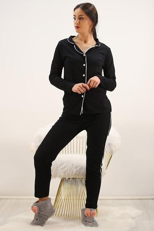 Düğmeli Pijama Takımı - Siyah
