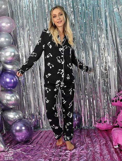 Nota Baskılı Pijama Takım - Siyah