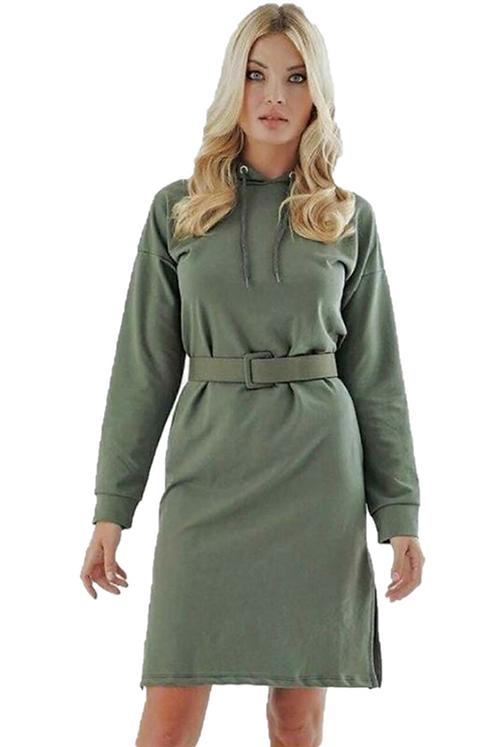 Kapüşonlu Ve Kemerli Tunik Elbise - Haki