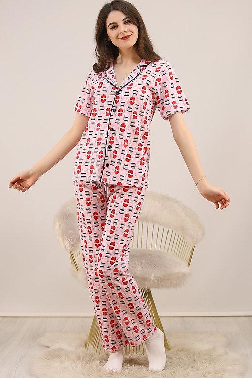 Düğmeli Penye Pijama Takımı - Açık Pembe