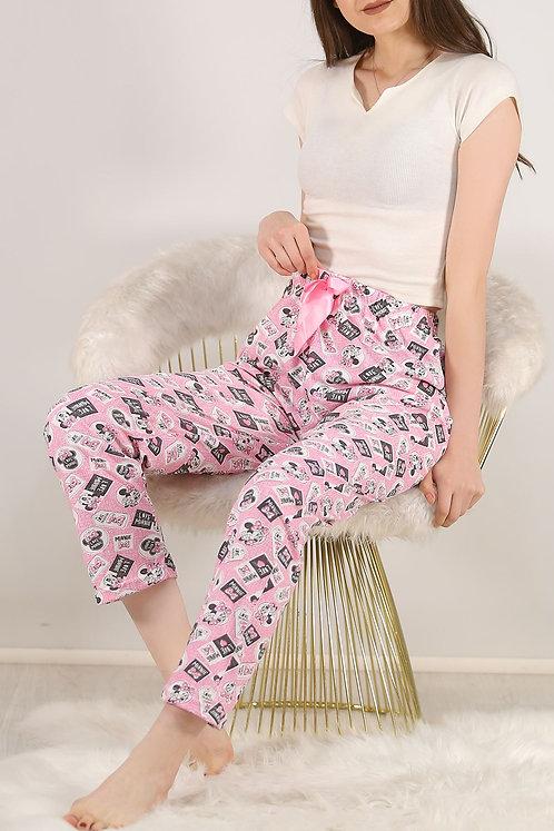 Desenli Pijama Altı Beyaz Pembe