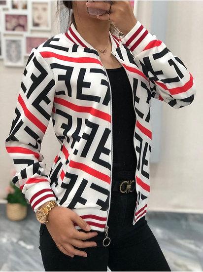 FF Desen Ceket - Beyaz