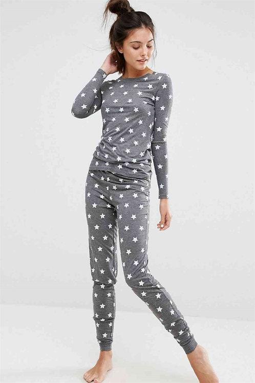 Yıldız Desenli Pijama Takımı - Gri