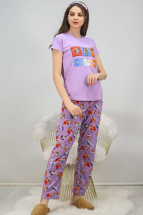 Baskılı Pijama Takımı - Lila