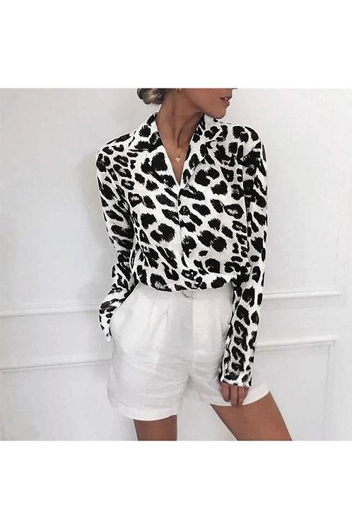Leopar Desen Gömlek - Beyaz