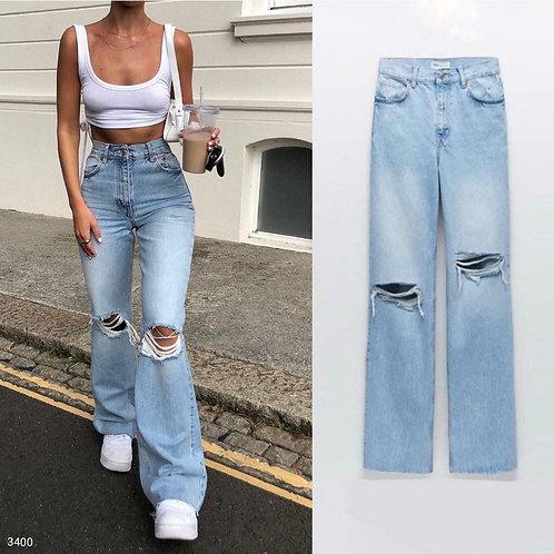 İspanyol Paça Yırtık Jeans - Light Blue