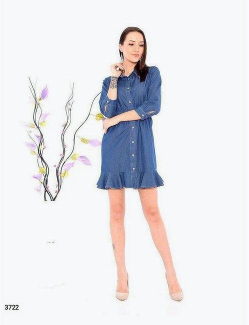 Eteği Fırfır Denim Elbise - Mid Blue