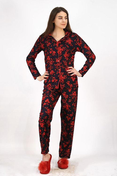Kadife Pijama Takımı - Kırmızı-Lacivert