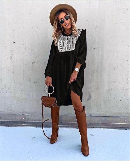 Omuz Fırfır Elbise - Siyah