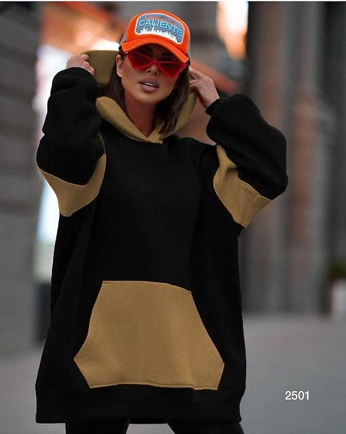 Kapşonlu Kanguru Cepli Oversize Sweatshirt -Siyah Bej