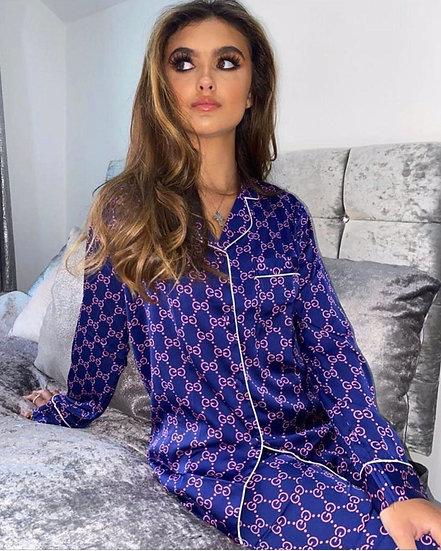 GG Saten Pijama Takım - Lacivert