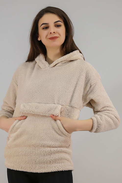 Kapüşonlu Fermuarlı Peluş Sweatshirt - Taş
