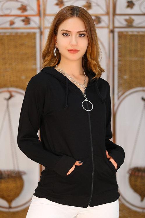 Kapüşonlu Fermuarlı Sweatshirt - Siyah