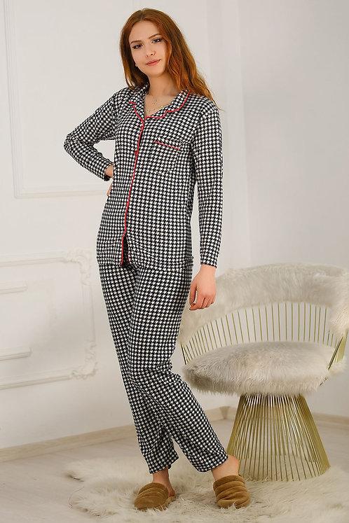Kadife Kazayağı Desenli Pijama Takımı
